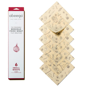 Abeego® Reusable Beeswax Wraps – Pack of 6 Small Beeswax Wraps
