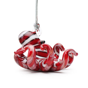 Art Glass Ornament: Striped Red Octopus