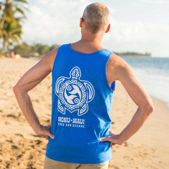 Men's tahiti design turtle tank top royal blue