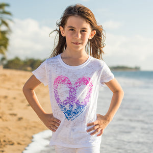 Peace Heart Burnout Youth Short Sleeve T-Shirt