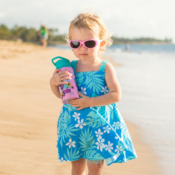 Toddler Plumeria Aloha Dress in Blue with Seafoam