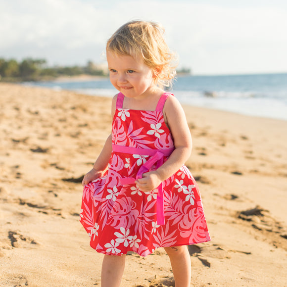 Toddler Plumeria Aloha Dress in Red with Pink
