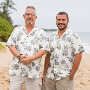 Men's Aloha Shirt With Reverse Pineapple Print
