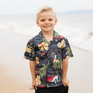 Boys Aloha Shirt - Vintage Cars with Palm Trees and Hibiscus