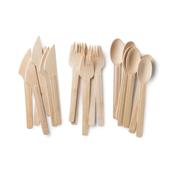 All Occasion Bamboo Knife, Fork and Spoon Set