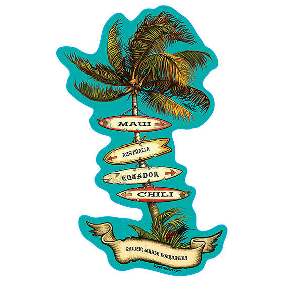 Sticker Surf Boards Palm Tree Maui Hawaii Pacific Whale Foundation