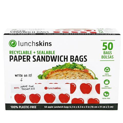 Recyclable + Sealable Paper Sandwich & Snack Bags - Apple