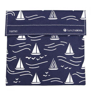 Reusable Velcro Sandwich Bag, Navy Boat