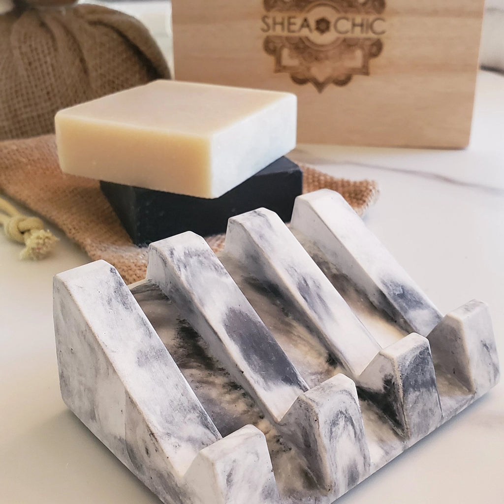 Marble Glazed Concrete Soap Tray Set