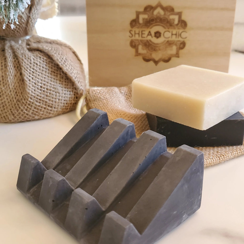 Matte Black Concrete Soap Tray Set