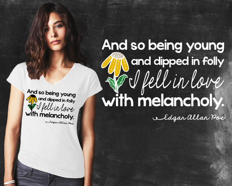 Melancholy Edgar Allen Poe Graphic T-shirt