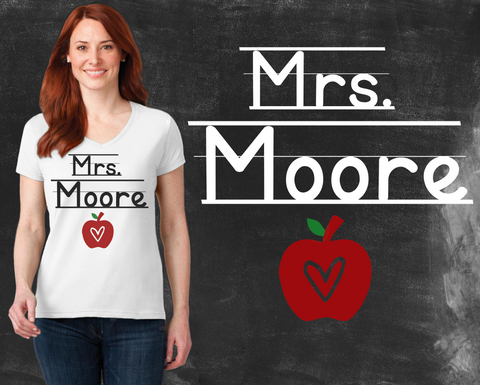 Personalized Teacher Graphic T-shirt