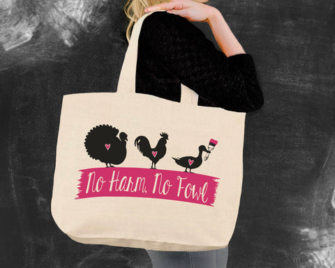 No Harm No Fowl Vegan Tote Bag