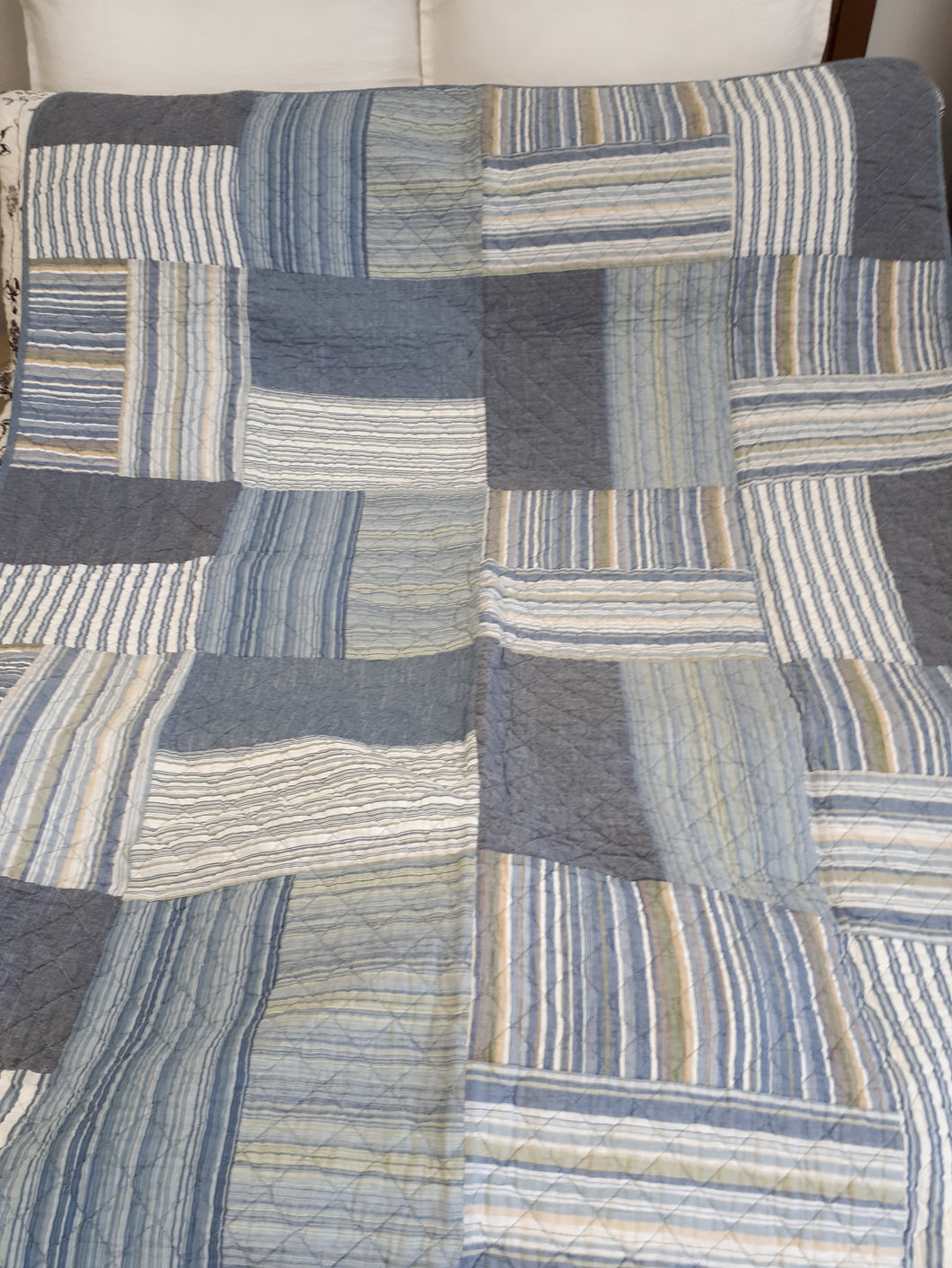 Maddison Blue Quilted Throw