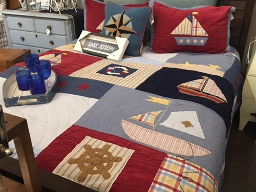 A nautical boat quilt set