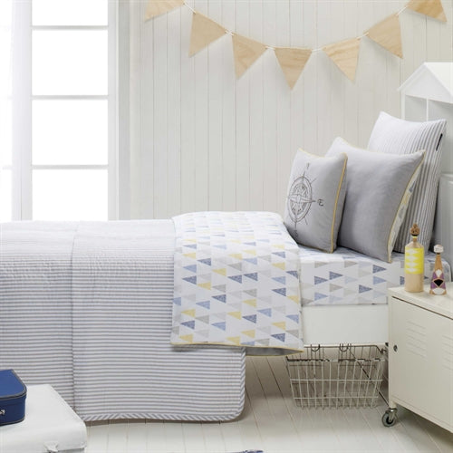 Blue Ticking quilt set