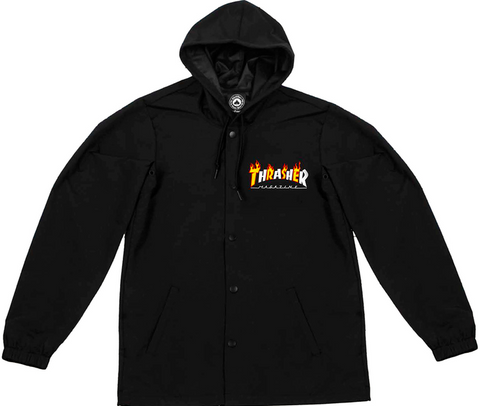 THRASHER - Flame Mag Water Resistant Jacket /Black