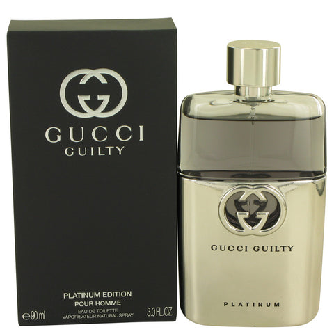Gucci Guilty Platinum by Gucci for Men. Eau De Toilette Spray 3 oz