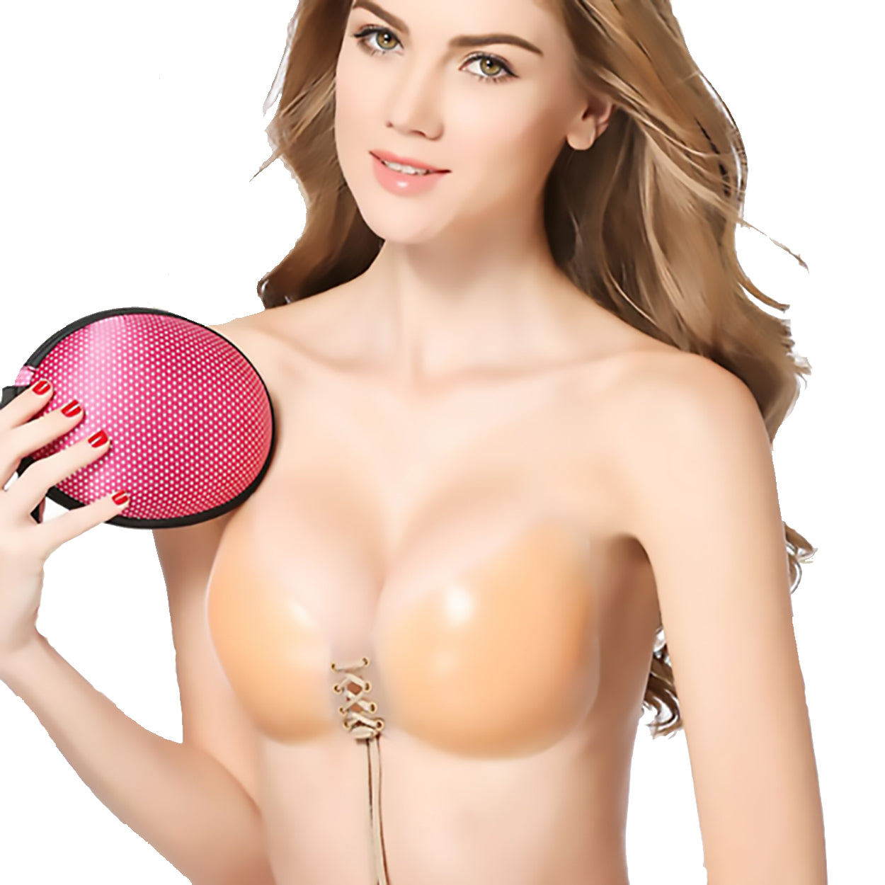 Bradazzle - Adhesive Water-proof Silicon Pull-String Strapless Bra Nude Color