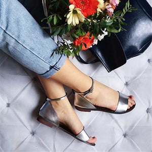 157d93b7be4 Metallic Leather Flat Sandals - Ankle and Toe Straps