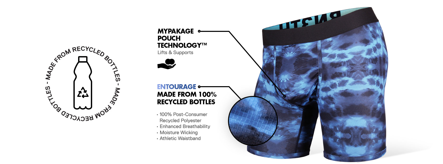 Breathable undershort made from recycled plastic bottles - the Entourage performance underwear series