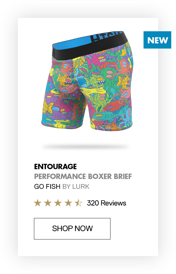 Entourage performance boardshorts made from recycled water bottles - artist collab BN3TH x Russ Lurk Morland