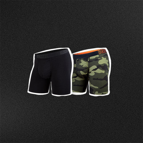 BN3TH merino wool mens pouch underwear is available in black and camo print.