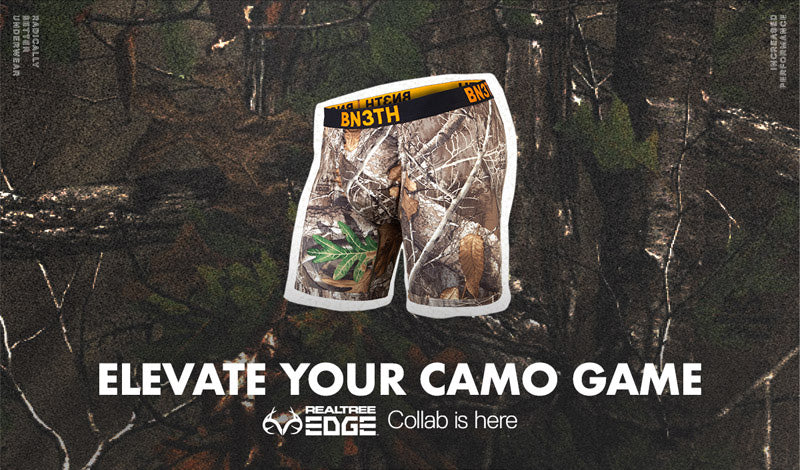 BN3TH's limited-edition REALTREE EDGE collab is here! A Pro boxer brief featuring MyPakage Pouch Technology in camo.