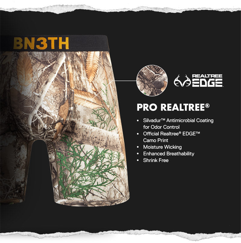 BN3TH X Pro REALTREE EDGE offers antimicrobial Silvadur coating for odor control.