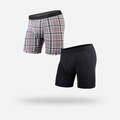 CLASSICS BOXER BRIEF 2-PACK: BLACK/FIRESIDE PLAID GREY