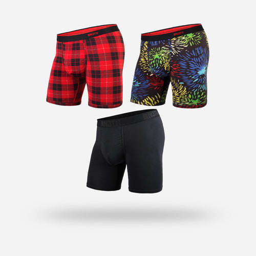 CLASSICS BOXER BRIEF 3-PACK:  FIREWORKS/FIRESIDE PLAID RED/BLACK
