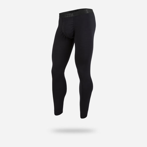 MERINO WOOL FULL LENGTH BASE LAYER: BLACK/BLACK