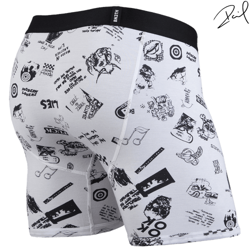 BLACK LABEL BOXER BRIEF: COLLAGE WHITE