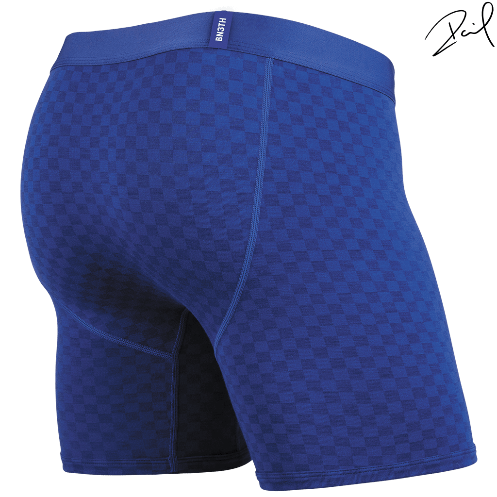 BLACK LABEL BOXER BRIEF: TONAL CHECKER BLUE