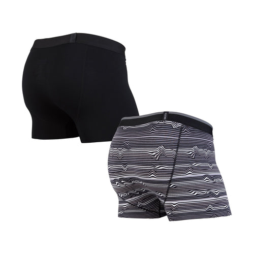 CLASSICS TRUNK 2-PACK: WARP STRIPE BLACK/BLACK | Trunk Boxer Brief