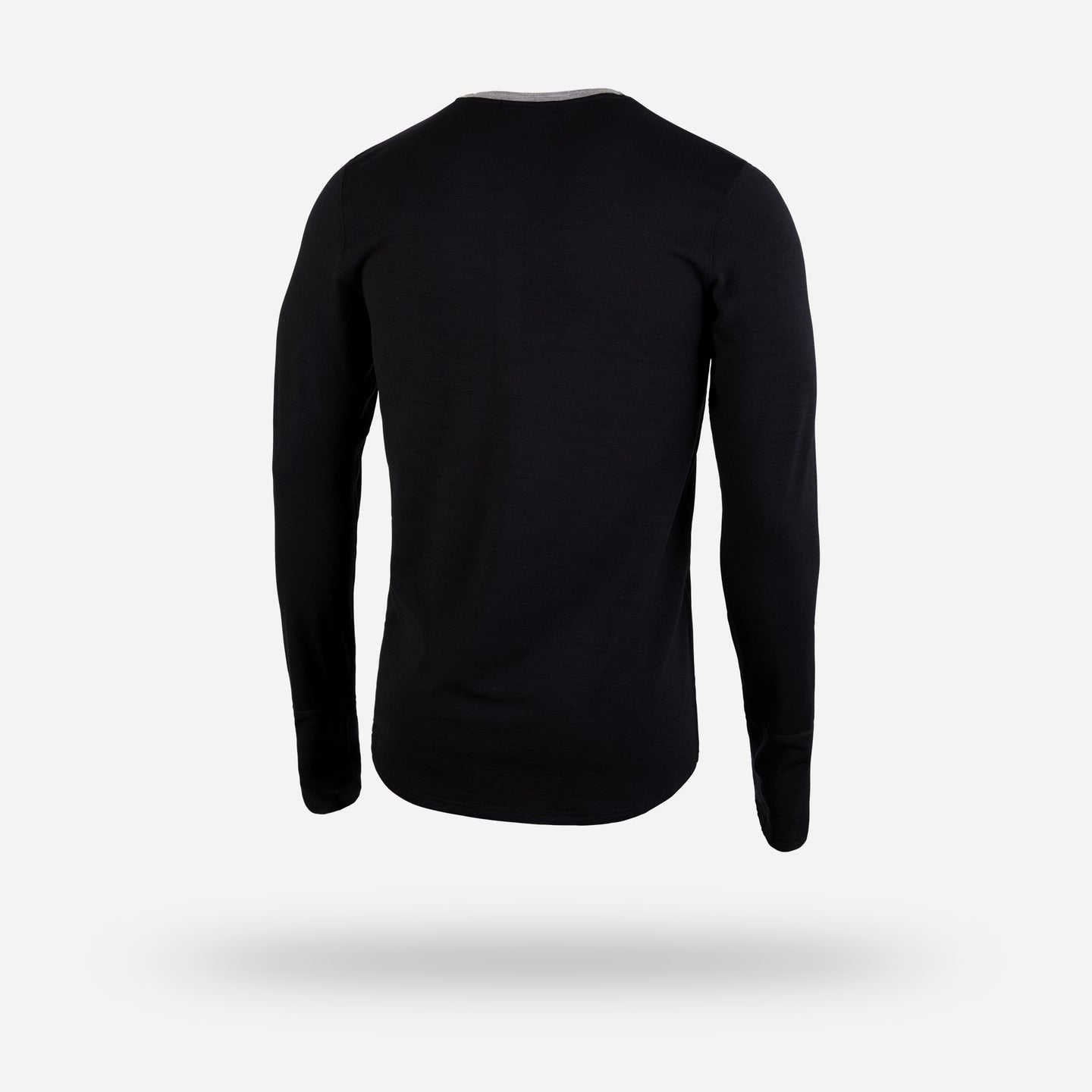 MERINO WOOL LONG SLEEVE BASE LAYER: BLACK/BLACK