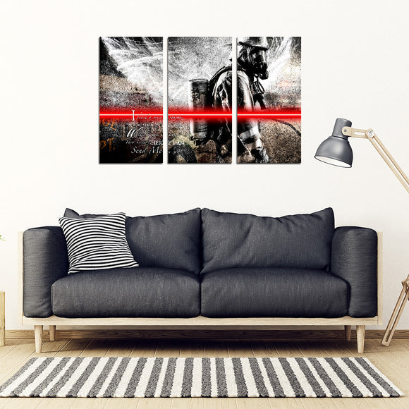 Send Me Firefighter 3 Pc Wall Art Canvas