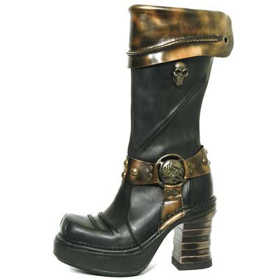 M.8309-C1 Metallic Bronze/Black High Heel Platform Boot by New Rock Custom Made to Order