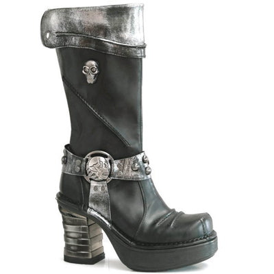 M.8309-C2 Metallic Steel/Black High Heel Platform Pirate Boot by New Rock Custom Made to Order