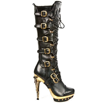 M.PUNK005-C3 Black/Gold Tall High Heel Boot by New Rock Custom Made to Order