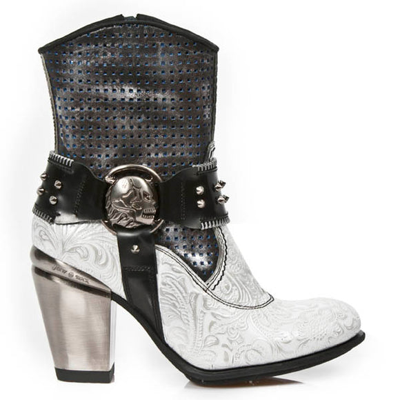 M.TX005-C2 TEXAS Style VINTAGE FLOWER White/Silver Boot by New Rock Custom Made to Order