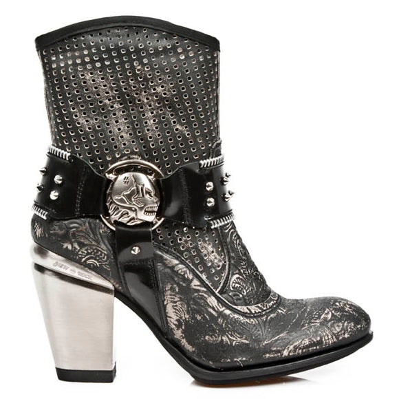 M.TX005-C3 TEXAS Style VINTAGE FLOWER Black/Black Boot by New Rock Custom Made to Order