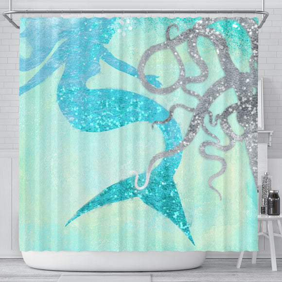 Mermaid and Friend Shower Curtain