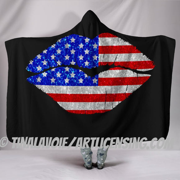 Patriotic Lips Hooded Blanket by Trend Matrix