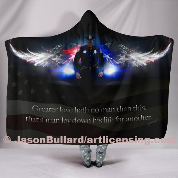 No Greater Love Police Hooded Blanket by Trend Matrix