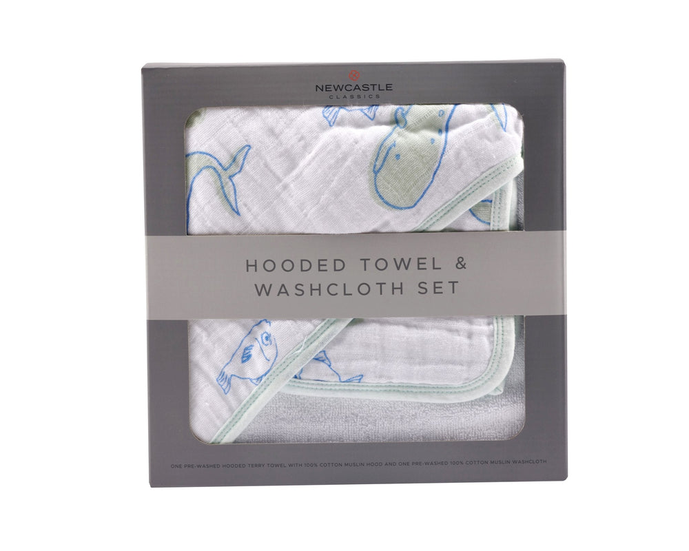 Whale Hooded Towel and Washcloth Set