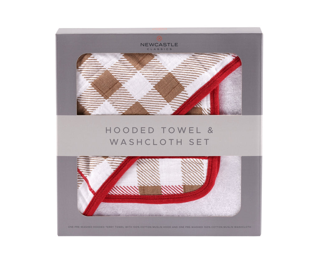 Plaid Hooded Towel and Washcloth Set -