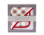 Plaid Cotton Hooded Towel and Washcloth Set