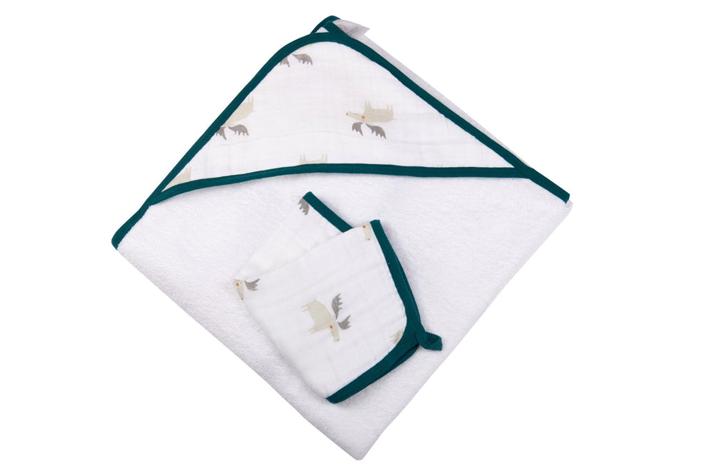 Forest Friends Hooded Towel and Washcloth Set