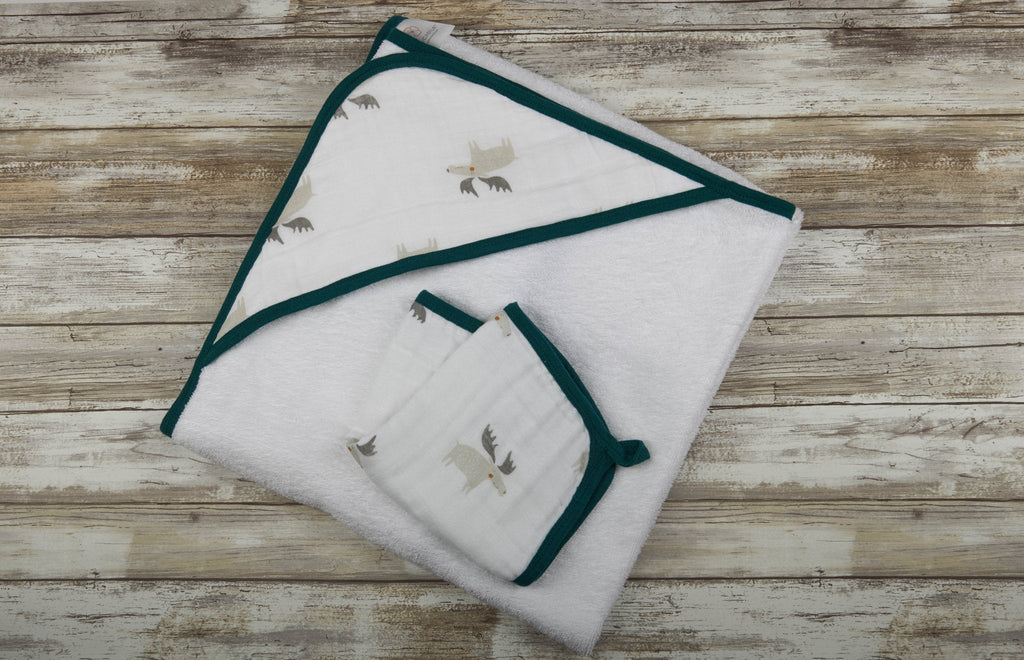Forest Friends Hooded Towel & Washcloth Set